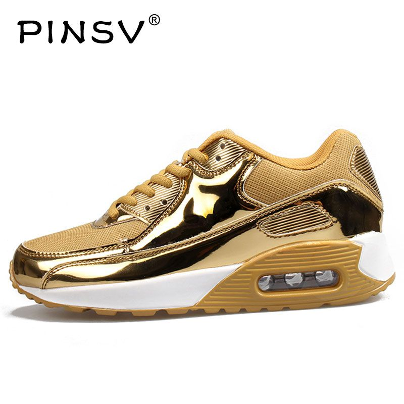 PINSV Mens Gold Sneakers Running Shoes For Men Sneakers Women Chaussures De Marche Pour Femmes Running Shoes Sport Woman