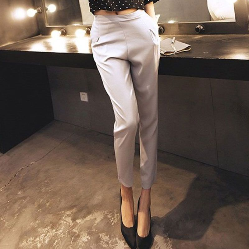 Black Grey 2017 Pocket Formal High Waist Pantalon Costume Pant Summer Trouser Female Harem Pants For Women Pants Big Size S-XXL