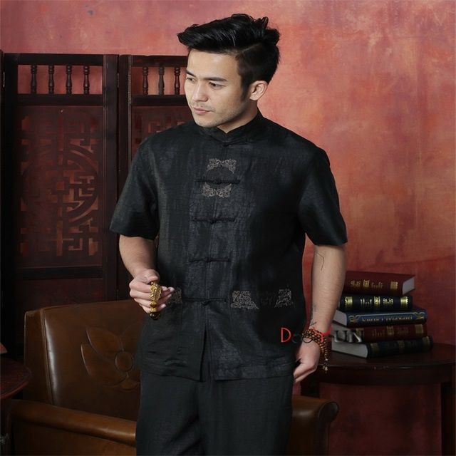 Black Chinese Traditional Men's 100% Silk Shirt Kung Fu Tops Embroidery Totem Shirt With Pocket Shirt Size M L XL XXL XXXL 4XL