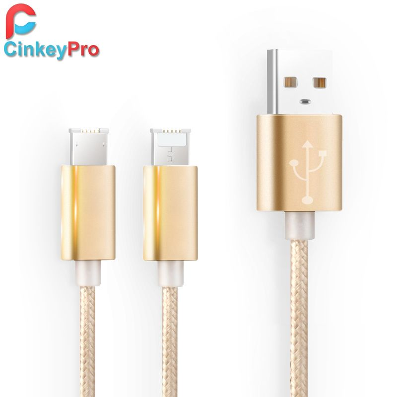 USB Cable For iPhone iPad Micro Universal Charging 2 in 1 Aluminum Nylon Braided Mobile Phone 1M Cables Data Charger CinkeyPro
