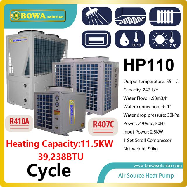 40,000BTU/11.5KW cycle type air source heat pump water heater for floor heating, please check with us about shipping costs