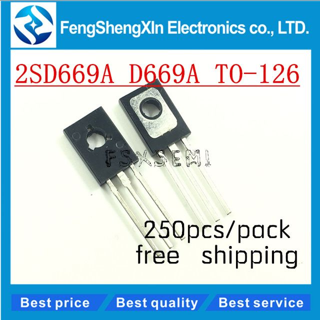 250pcs/lot  New  2SD669A  D669A TO-126 160V/1.5A  PNP  Power transistor