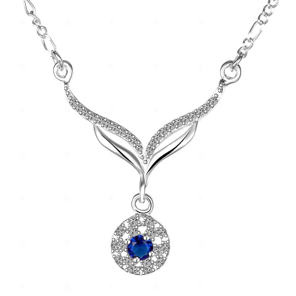 N498 sterling 925 silver necklaces & pendants statement necklace leafage blue stone crystal choker chain for women colar jewelry