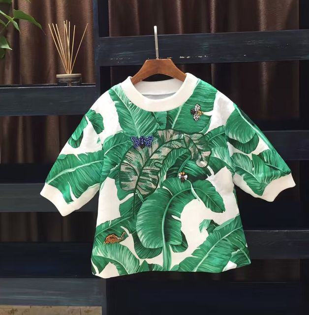 Cute! new 2016 autumn fashion luxury banana leaf embroidery print women tops animal handmade beading jacquard blouse loose
