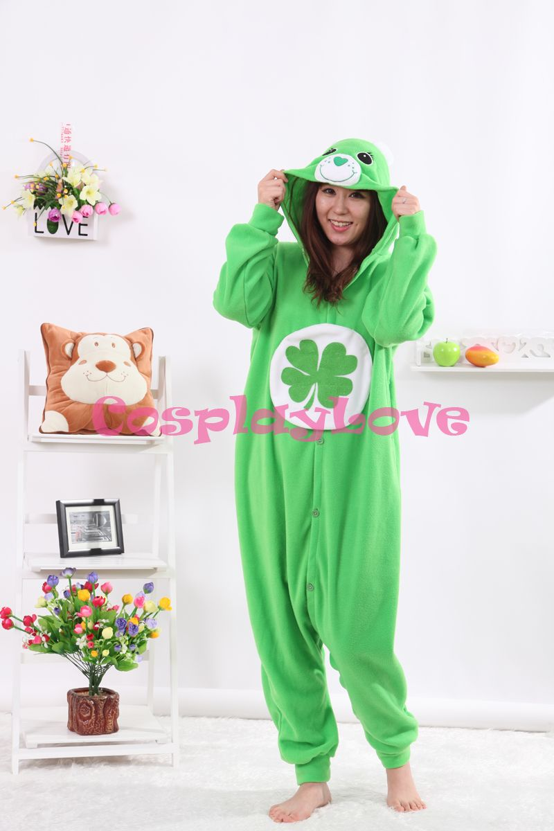Lucky Bear Pajamas Animal Cosplay Costume Coral Girls Boys Adult Kid Pajamas Onesies Cartoon Halloween Sleepwear Sleepsuit
