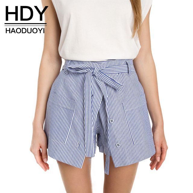 HDY Haoduoyi 2017 Summer Stripe Shorts Women Loose Casual Short Slim High Waist Button Culotte Lacing Bottom Cotton Skirt Shorts