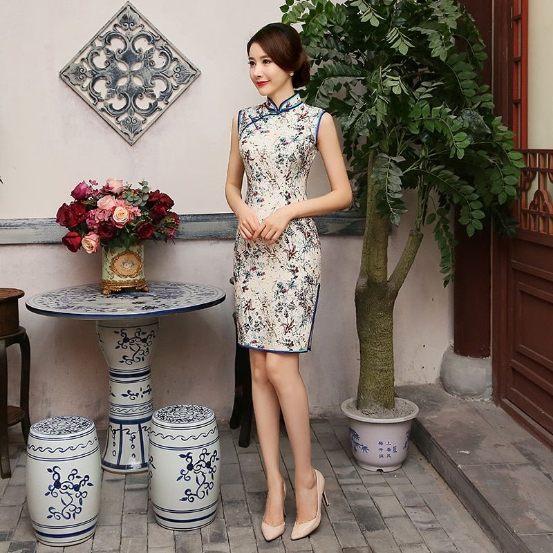 2016 chinese style vintage slim short design short-sleeve silk cheongsam one-piece dress summer