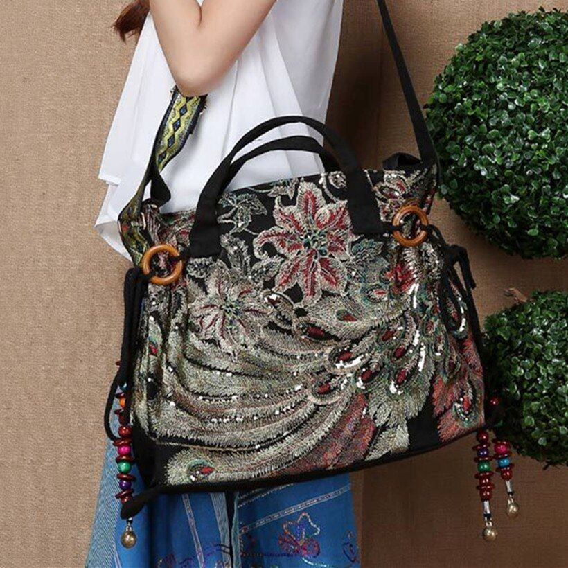 2017 New Fashion Embroidery Woman Bag Big Size Tassel Beading Tote Bag Designer Handbags High Quality Shoulder Bags