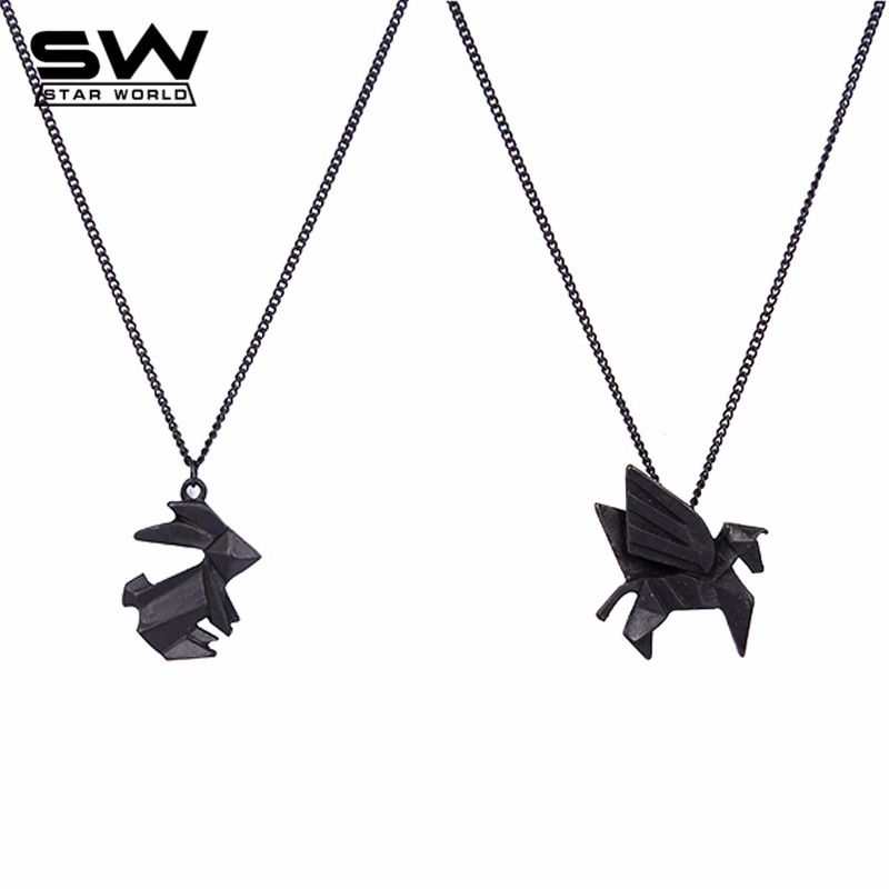 Handmade Origami Jewelry Animal Pendant Necklace Rabbit Dog Bird Cat Horse Dinosaur Boat Cute Necklace Long Chain Pendant JN029