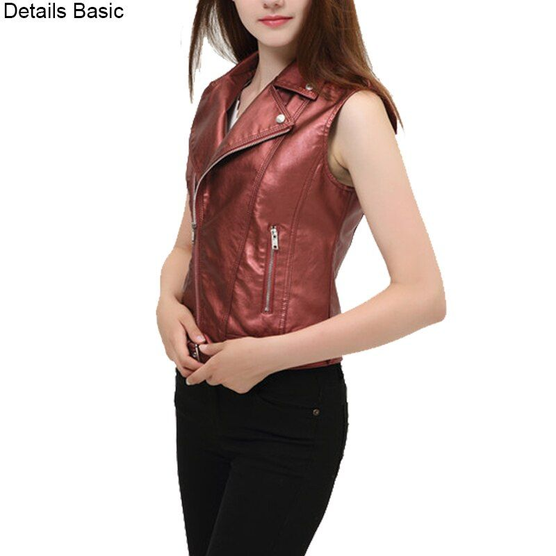 Women sleeveless jacket ladies leather vest new 2018 black waistcoat casual fashion short white female vests dropcolete feminino