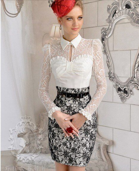 Free Shipping High Quality Pink Doll Retro Hot Sale Bowknot Puff Sleeve Lace Sleeve Turn-down Collar Woman Blouse White