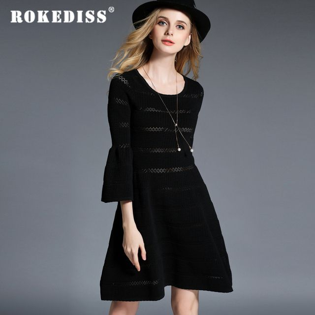 2017 Autumn Winter new Hot sale Europe America Solid color Slim Waist Hollow knitting dress High-end Women's clothing H166