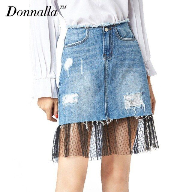 Donnalla Women Skirts Summer Denim Blue Skirts Sexy Lace Patchwork Jeans High Waist A-Line Skirts With Ripped Hole Saia Jeans