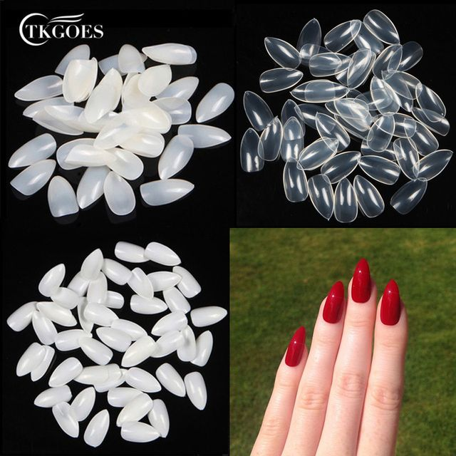 TKGOES 600PCS Stiletto Pointed Acrylic Nails Oval Short Artificial nail tips Plastic full false french nail art tips fake nails