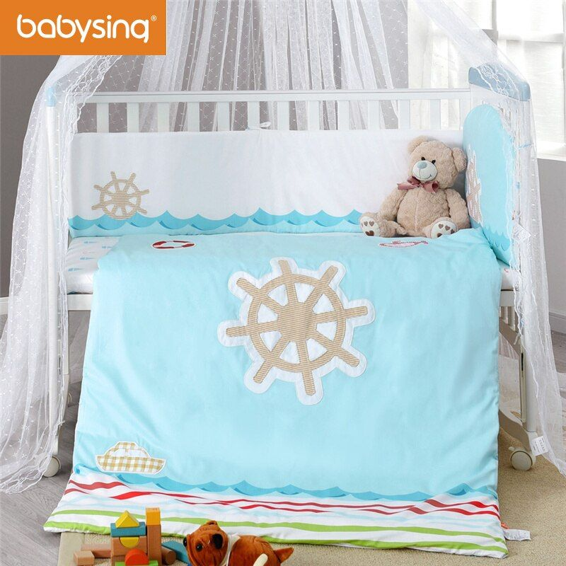 Babysing Crib Bedding Set 100% Cotton Suit 120cm*65cm Baby Bed Including Bumper Pad Quilt  Sheets Quilt  Pillowcase