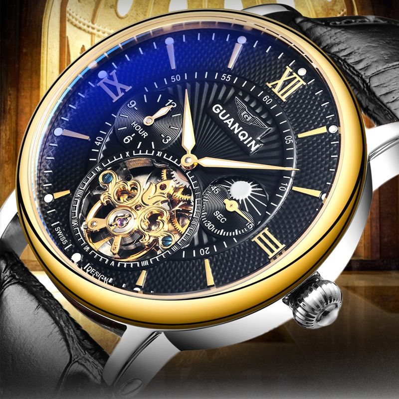 GUANQIN Mens Watches Top Brand Luxury Tourbillon Skeleton Luminous Clock Men Casual Leather Automatic Mechanical Wrist Watch
