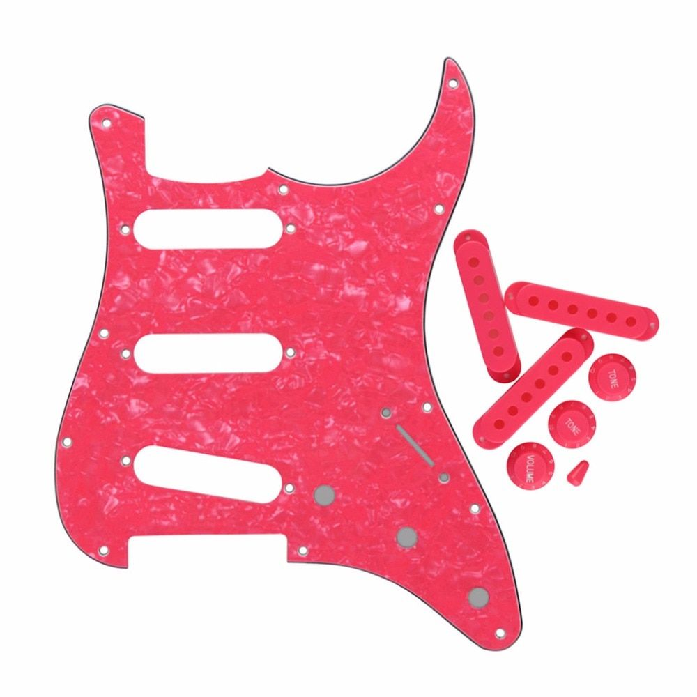 Set of 11 Hole SSS Strat Pickguard Scratch Plate Pickup Covers Guitar Knobs Switch Tip Guitar Parts Accessories Pink Pearl 4Ply