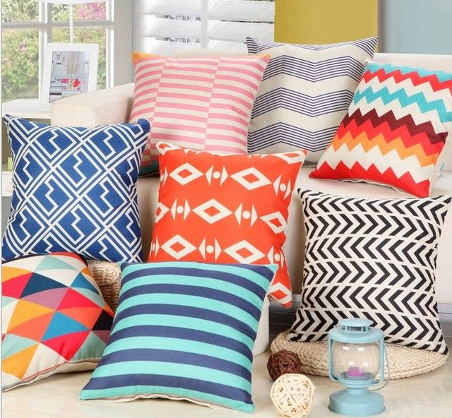 "18"" Rainbow Chevron zigzag Linen Cotton Pillow Geometric Home Decor Cushion Sofa Car Decorative Throw Pillow Capa Almofada"