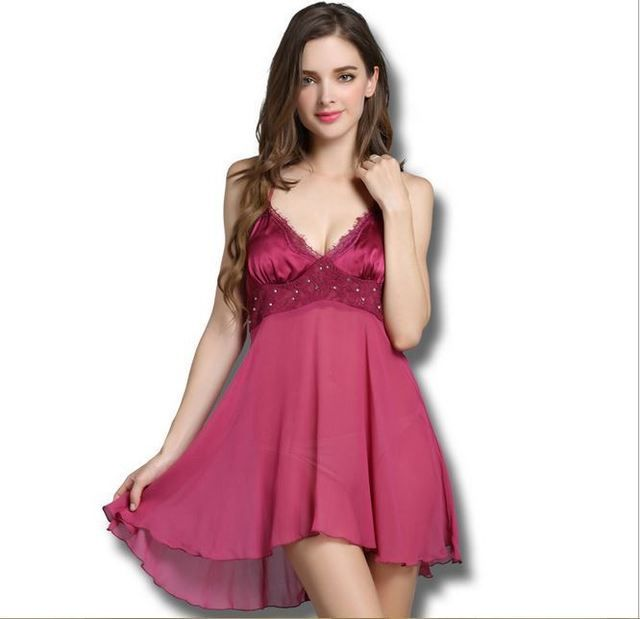 Lisacmvpnel 100% Silk nightgown female sexy  lounge lace deep V-neck slim push up spaghetti strap female silk sleepwear