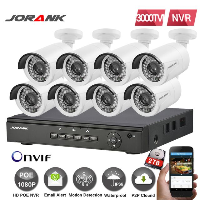 Full HD 8CH 1080 P POE NVR Kit  8 PIECES 2.0MP 3000TVL PoE Ip Camera P2P Cloud Service System Video surveillance