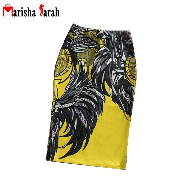Women Stretch Bodycon Pencil Print Skirts High Waist Midi Knee-Lenght Tight Skirt Back Slit Office Feather Pattern faldas