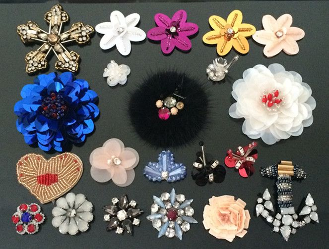 5pieces/lot Rhinestones bead brooch patches applique vintage embroidered fabric sew on patch clothes shoes bags decoration patch