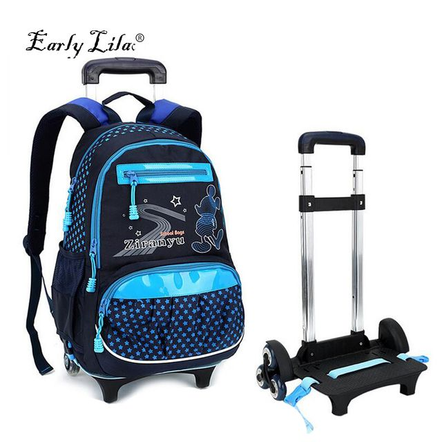 New Designer 3 Wheels Removable Children School Backpack Trolley Bags High Quality Large Capacity Children Wheeled Bag Mochilas