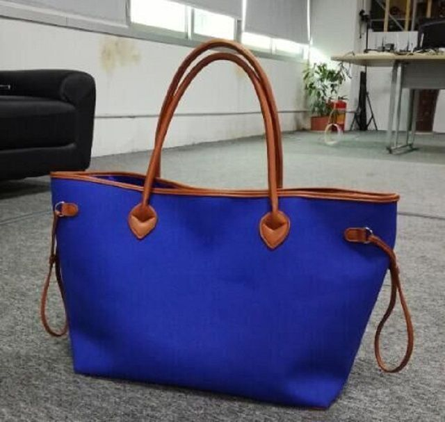 Wholesale Blanks Canvas PU faux leather Material Large Neverfull Tote Bag Large Capacity Handbag DOM103369