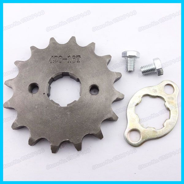 Front  Engine Sprocket with Retainer Plate Locker 428 20mm ID 16 Tooth For YX Loncin Engine Pit dirt Bikes Zongshen  TTR SSR
