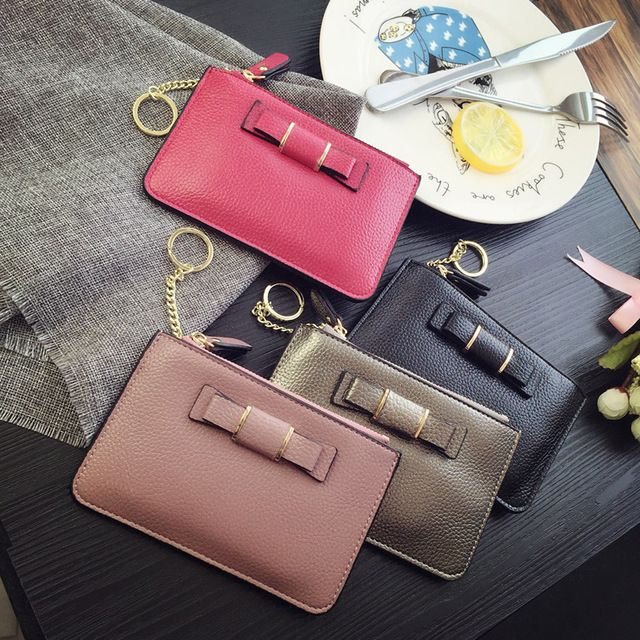Candice's Bow Coin Purse PU Leather for Ladies Fashion Festival Gifts Fresh Crossbody Handbags Bags Cheap Wallet