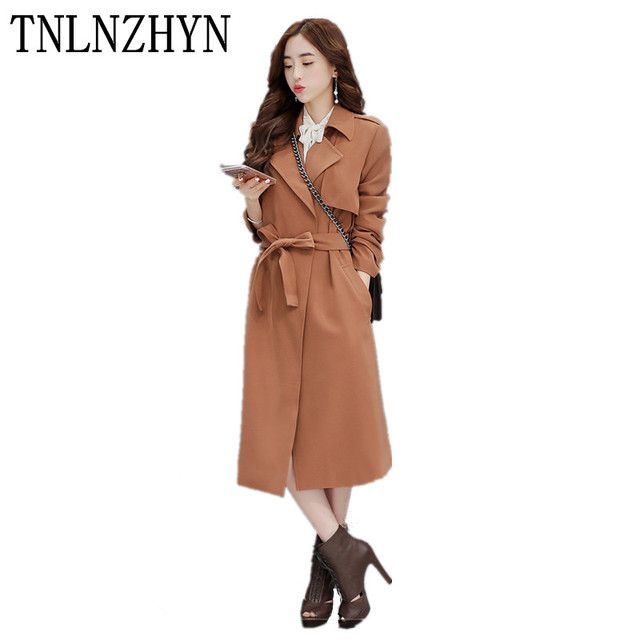 TNLNZHYN 2017 New Spring Coats Turn Down Collar Women's Trenchcoats Slim Fashion Medium Long Ladies Windbreaker Overcoats AL68