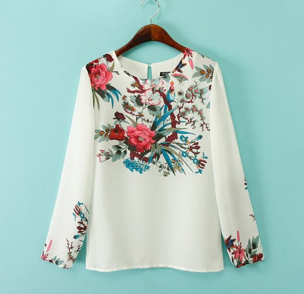 Women plus size white floral chiffon blouses vintage round neck long sleeve shirts Blusas Femininas office casual vintage tops