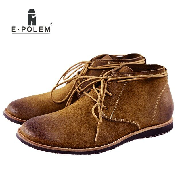 2017 Spring Autumn Fashion Mens Brown Black Lace-Up Ankle Martin Boots Shoes Fashion Plush Suede Leather Leisure Men Flats Boots