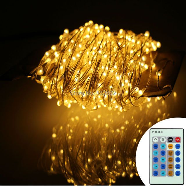 99Ft/30m 300 Leds Silver Wire Warm White LED String Lights Starry Lights Fairy lights+12V Power Adapter+Wireless Remote