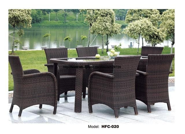 Luxury Rattan Garden Sofa Chair Table Combination Modern Leisure Outdoor desk Table chairs balcony Garden furniture Set HFC-020