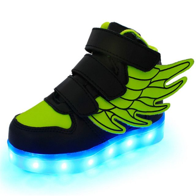 JIAN DIAN Kids USB Charging Basket Shoes Light Up Casual Shoes Boys & Girls Led Sneakers Glow Baby Shoes 25-37 Plus Size