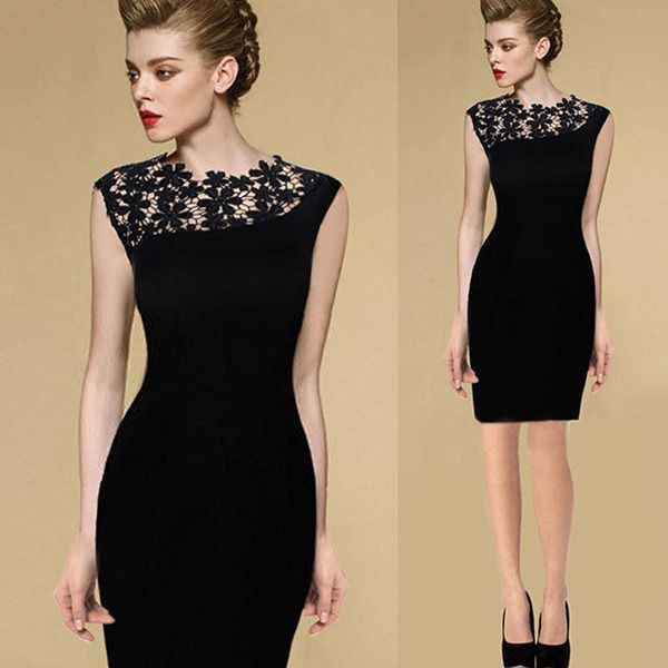 Casual Dress Summer Black Sexy Women Stretch Evening Party Lace Slim Bodycon Pencil Dresses Vestidos Crochet Elegant Dress J2