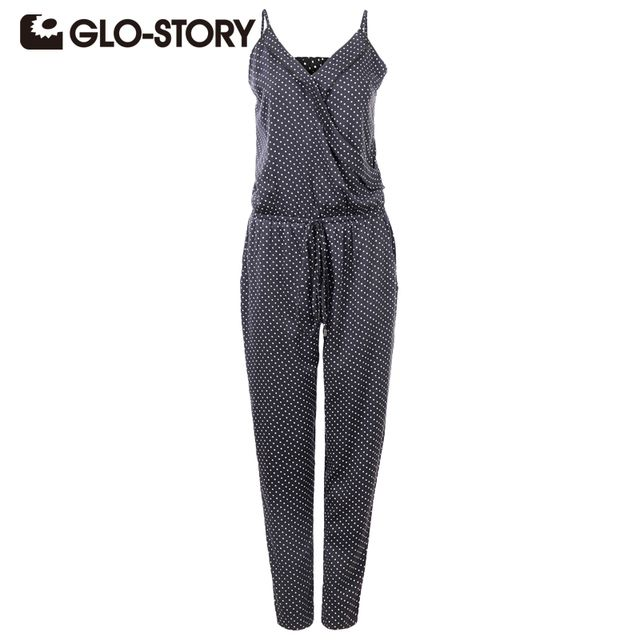 GLO-STORY Brand Women Jumpsuits 2017 Summer Womens Rompers Jumpsuit Elegant  Dot Sleeveless Long Playsuits Plus Size 1067