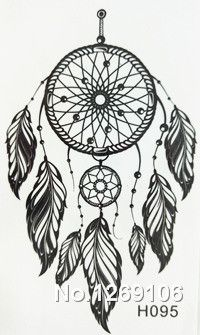 2016 NEW 10x6cm Black  Fashion Tattoo Dreamcatcher Feather Waterproof Temporary Tattoo Stickers