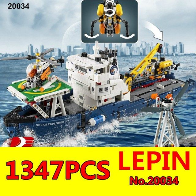 Technic Series LEPIN 20034 1347pcs Genuine New The Searching Ship Set Educational Building Blocks Bricks Toys for Children Gift