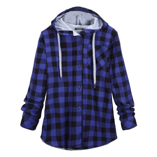 Women Fashion Plaid Hoodies Hoody Buttons Full Sleeves Casual Sweatshirts Outerwear Tops