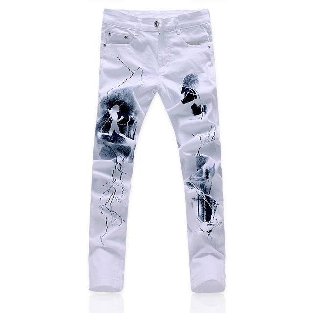 Left ROM High-end White Printed Mens Jeans / New High-quality Goods Cotton Fashion Printed Elastic Slim Leisure Male White Jeans