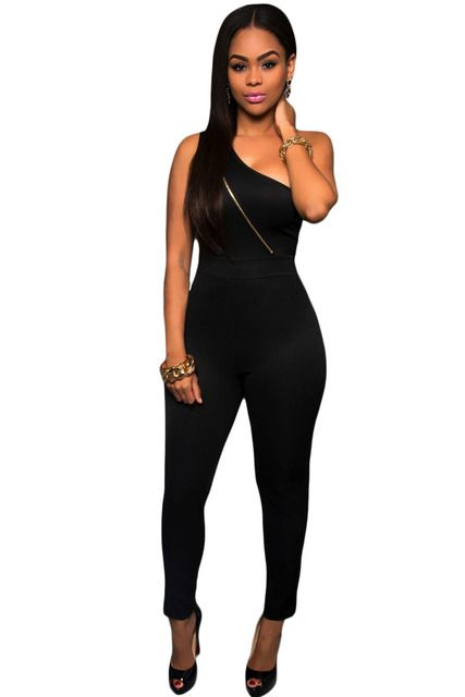 Sexy Black Gold Zipper One Shoulder Jumpsuit LC60927 2016 sexy romper overall for women club wear combinaison femme on sale