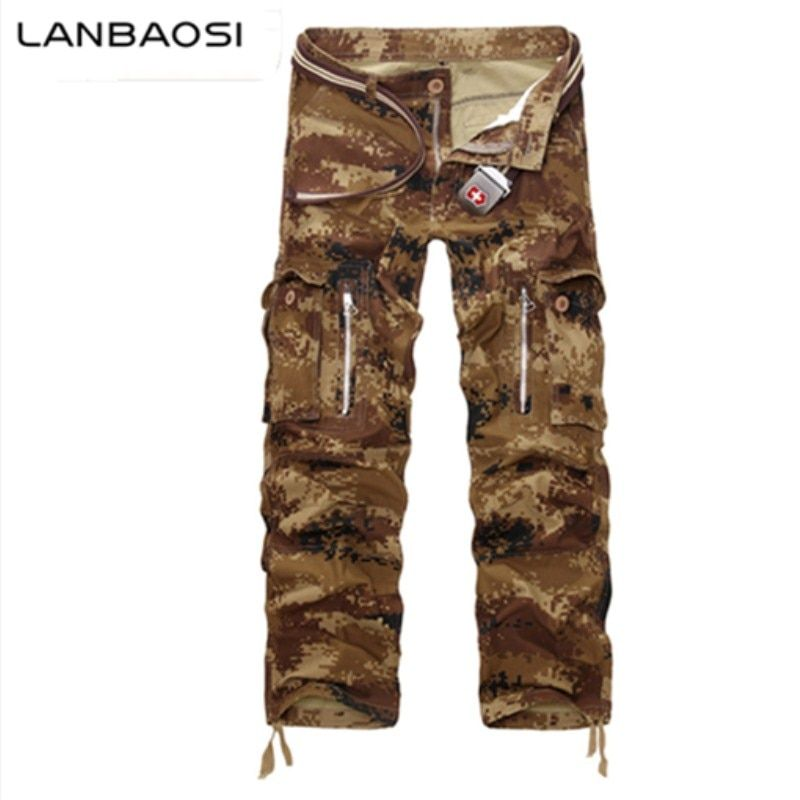 LANBAOSI Quality Cargo Pants Multi-pocket Army Camo Pants for Men Stylish Casual Trousers Plus Size Mens Cotton Long Trousers