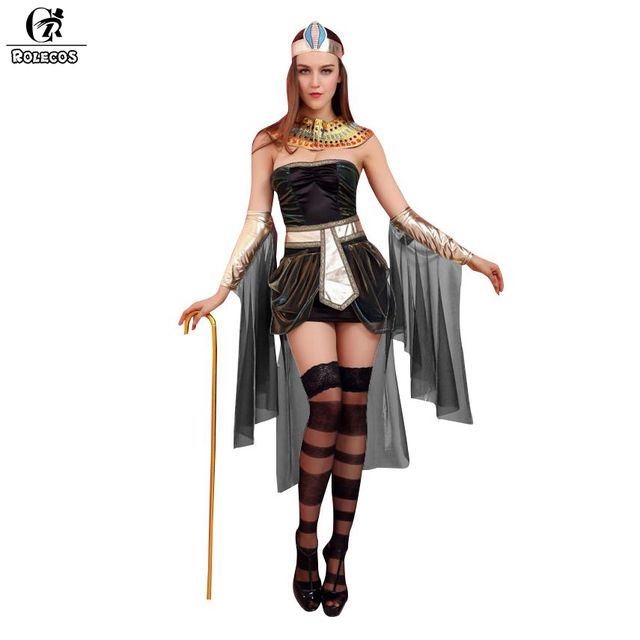 ROLECOS 2017 Women Halloween Costumes Sleeveless Arab Queen of Egypt Cleopatra Cosplay Costume Sexy Women Fancy Dress Clothes