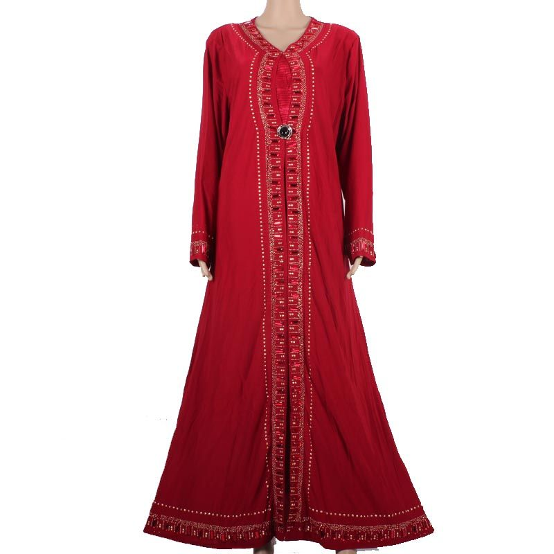 Muslim Abaya Kaftan Islamic Clothing for Women Beading Design Turkish Women Clothes Maxi Abaya in Dubai Kaftan Dress Red M1258