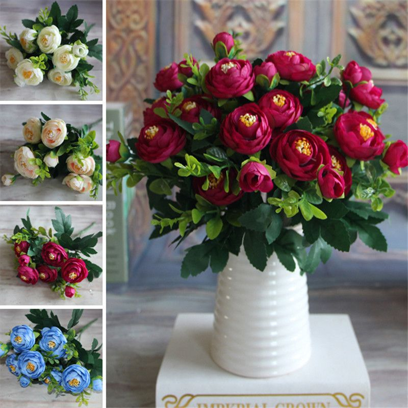 2016 New Multi Color Spring Artificial Fake Peony Flower Arrangement Home Table Room Wedding Hydrangea Decor Fleur Artificielle