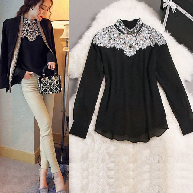 AMBMCM 2017 New Fashion Promotions trendy cozy fashion women clothes casual Blouse Diamond Beaded Slim shirt for women tops