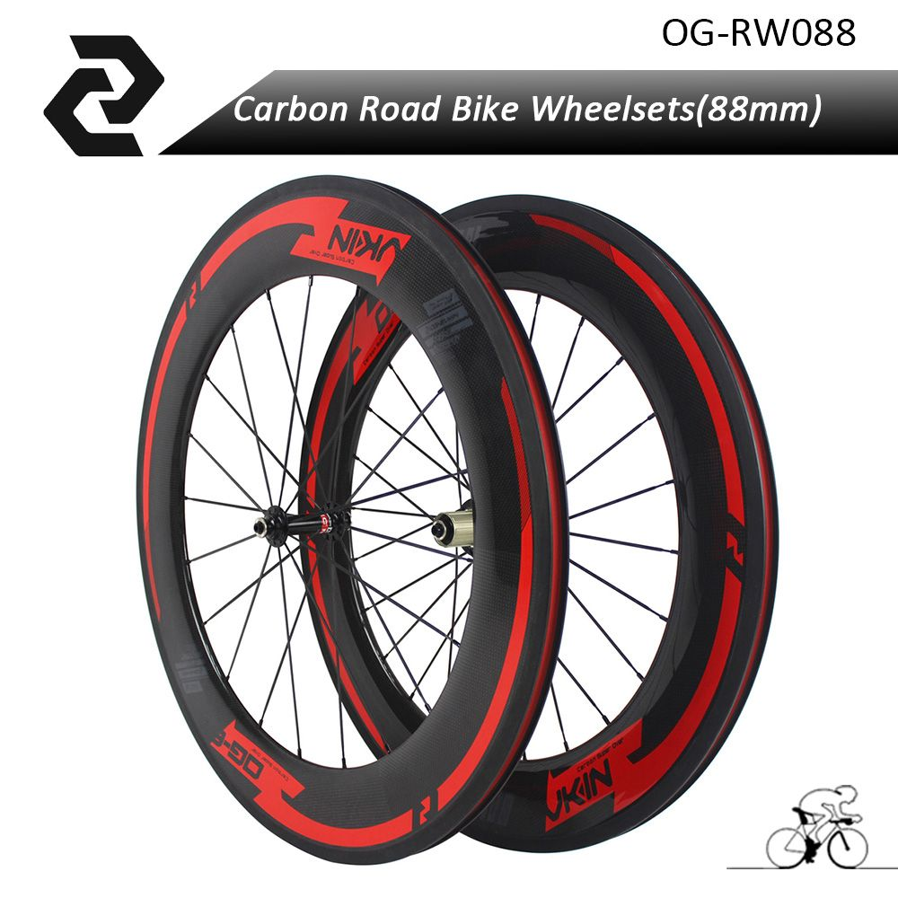 OG-EVKIN 700c 88mm Clincher High Quality Carbon Wheelset Road Bike Wheels with A291 Hub
