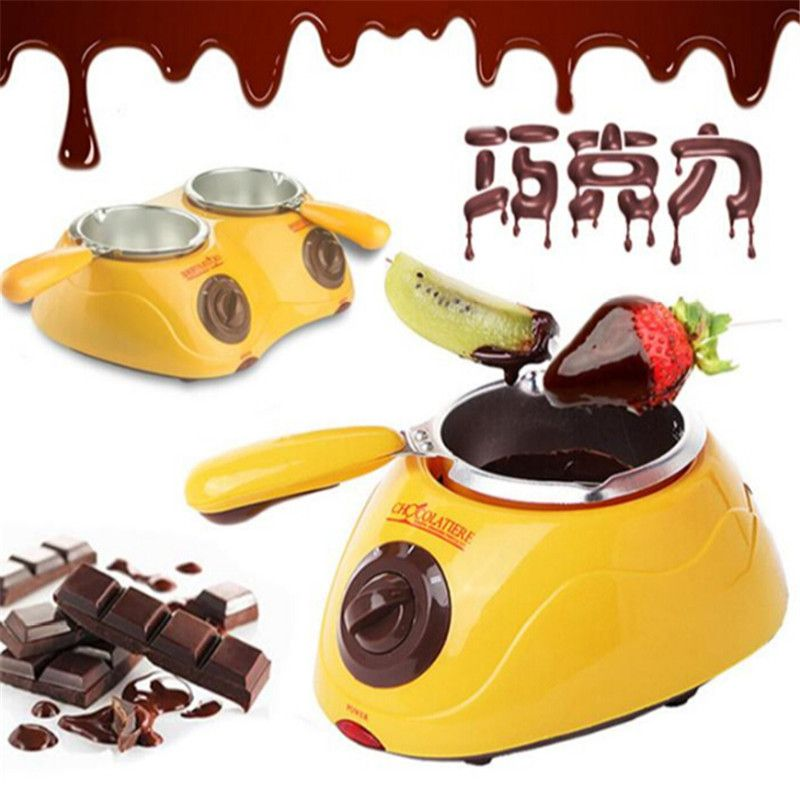 Ecombird Hot Sale Electric Chocolate Fountain Fondue Singer  Chocolate Melt Pot melter Machine Yellow&Pink